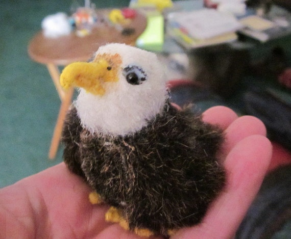 Miniature Bald Eagle plush OOAK with free shipping to US