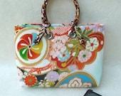 Vintage wedding kimono fabric mini tote bag - wisteria design