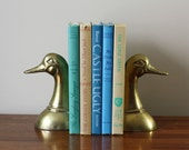 Vintage Solid Brass Duck Bookends