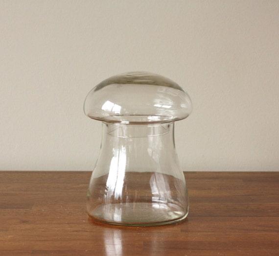 Vintage Mushroom Shaped Glass Jar