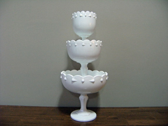 Vintage Trio of Stacking Milk Glass Compotes