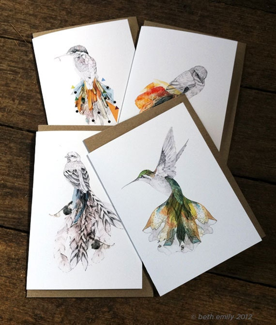 Bird GIFT CARDS - set of 4