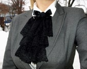 Black Lace Jabot MADE TO ORDER