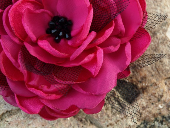 Bright Pink Flower Brooch or Hair Clip with Black Tulle