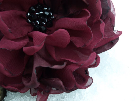 Burgundy Flower Brooch or Hair Clip
