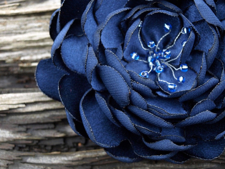 SALE Dark Blue Flower Brooch Or Hair Clip Rose