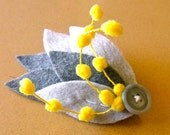 fascinator, shades of grey with yellow fuzzies, made from eco-friendly felt