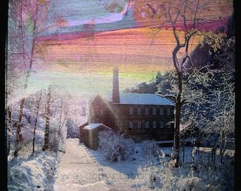 Snow at Gibson Mill ( Digital Collage, from original photography and artwork )