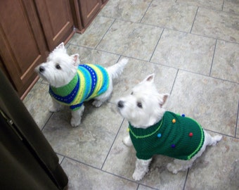 Dog Sweater, Pet Sweater, Hand Knit Sweater for Dog, Handmade Sweater, XSMALL, Avaiable XSmall - Medium, Custom Made Sweaters, Dots Green