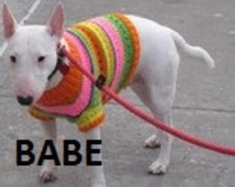 Fair Isle Dog Sweater, Hand Knit Pet Sweater, Size XSMALL, Fair Isle Orange
