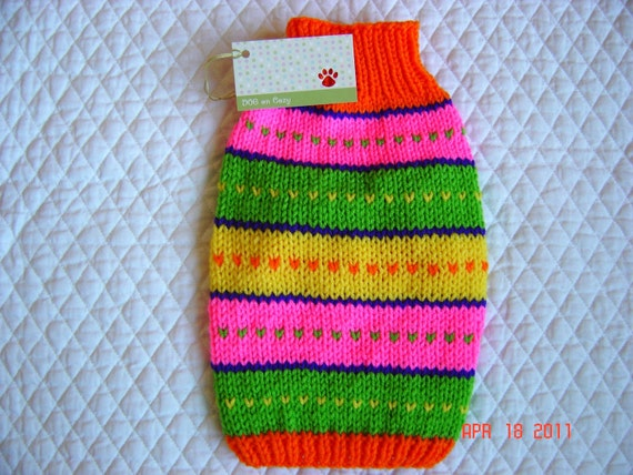 Dog Sweater Coat - XSMALL - Fair Isle - Orange