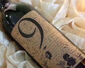 Wine Label Table Number..... Romantic Text