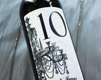 Table Number Wine Labels .... Choose your Colors...Damask Chandelier