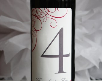 Wine Label Table Numbers... choose your colors... CITRON SWIRLS