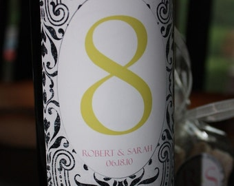 Table Number Wine Labels .... Choose your color and style ... DAMASK