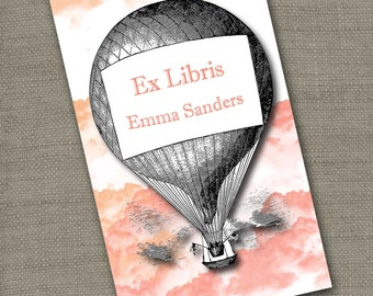 Personalized Bookplates....24qty...Choose your color... Hot Air Balloon