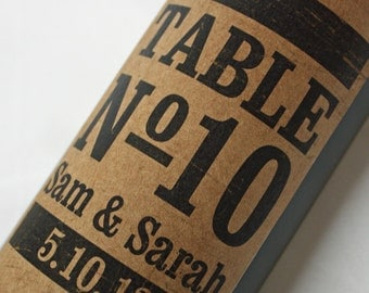 Wine Label Table Numbers.... Kraft Vintage Stamp