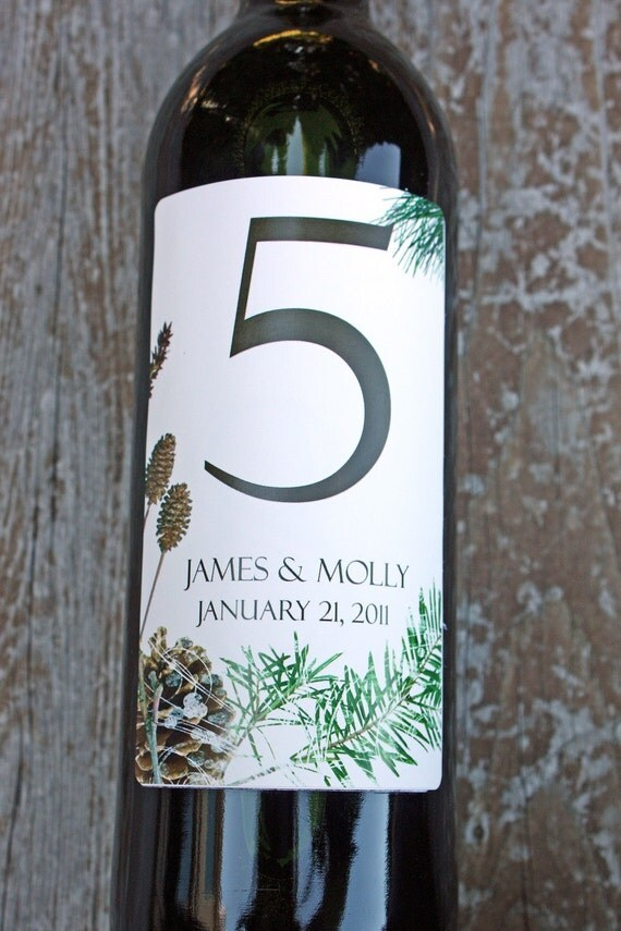 Table Numbers.. Wine Labels  1-10...Winter Spruce or Poinsettia