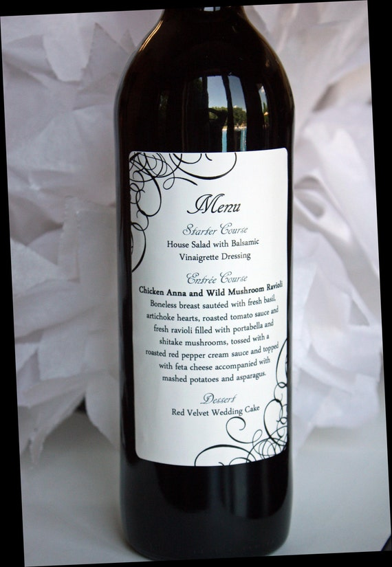 Menu Wine Label ....Choose your own Colors, Design and Text