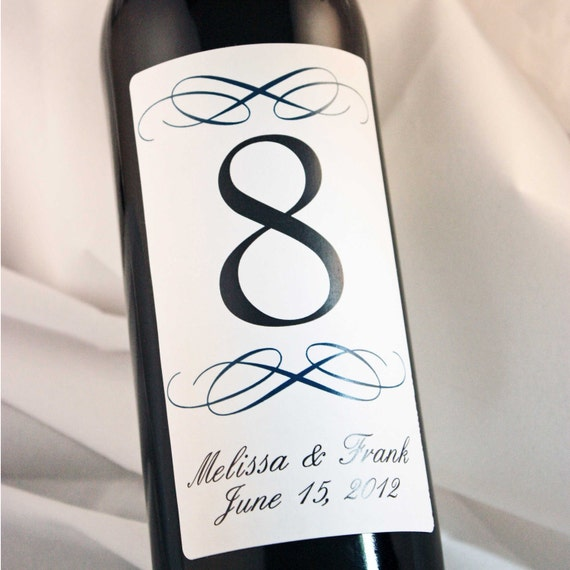 Table Number Wine Labels 1-18 Reserved...Choose your Color...Simple