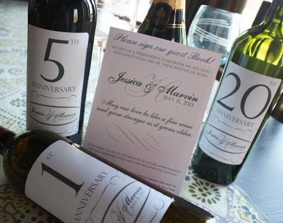 Guest Book Anniversary Wine Labels 4-6 labels, 1 instructional sign..choose your design and numbers
