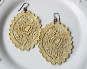 Vintage Lace Gold Medallion Dangle Earrings