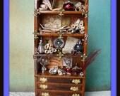 Gothic Witch Wizard Halloween dollhouse miniatures cabinet dresser  bookcase ooak
