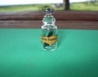 Gothic Witch Raven Feathers spell bottles dollhouse miniature