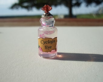 Witch Wizard Gothic Cyclope Eye dollhouse miniature Spell bottle halloween glow in dark