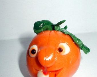 Gothic See my Candle pumpkin dollhouse miniature OOAK all dress up Halloween Glow in Dark Eyes