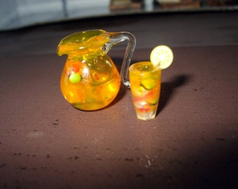 dollhouse miniature Lemonade Pitcher of Eyeball Halloween