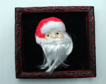 Gothic Santa 3-d picture dollhouse miniature   Christmas OOAK