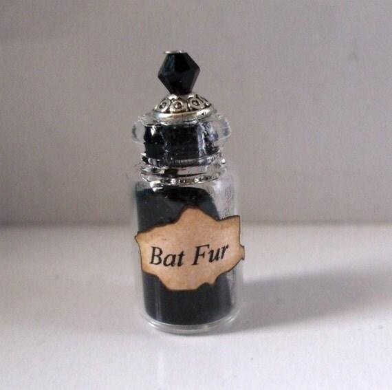 Gothic Witch Bat fur spell bottle dollhouse miniature halloween charm