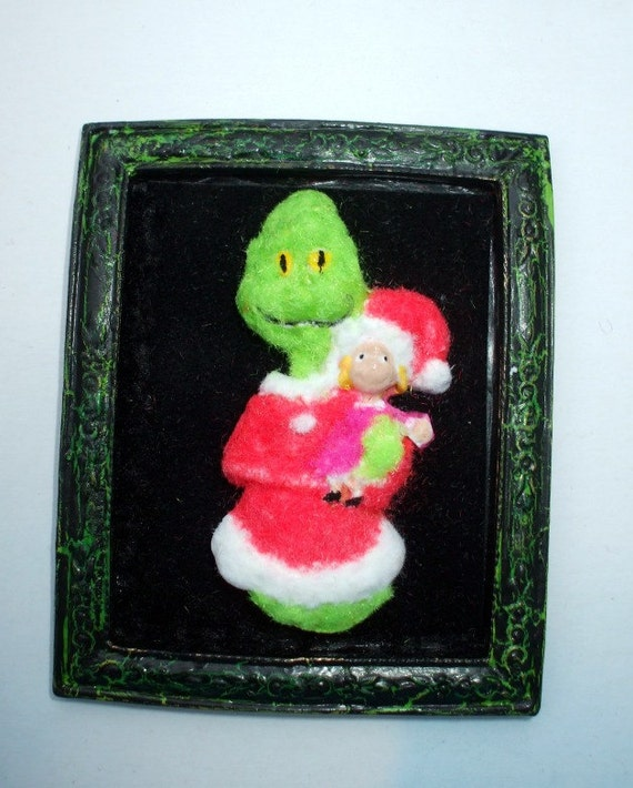 Grinch inspired 3-d picture dollhouse miniature Christmas OOAK