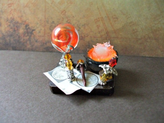 Gothic Witch Messy Spell tray dollhouse miniature Halloween ooak Glows in Dark
