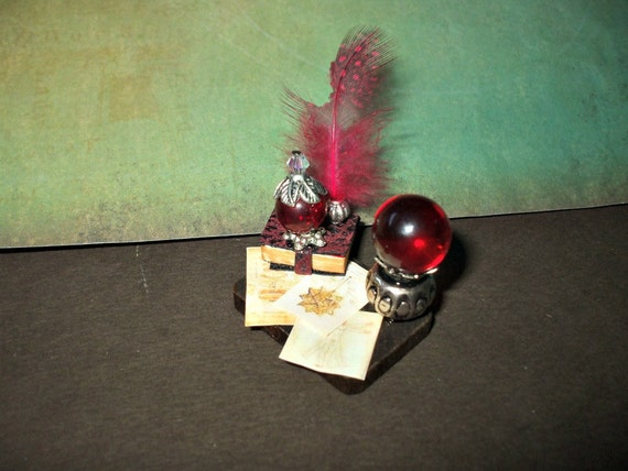 Gothic Witch Messy Spell tray dollhouse miniature Halloween ooak