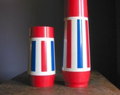 Pair of Thermo Sew Thermoses .. Red, White And Blue Striped