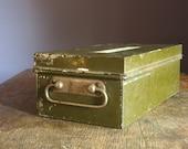 Vintage 1931 Olive Green Security Box .. Depression Era