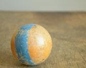 Vintage Natural Wood Croquet Ball .. Blue