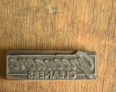 Vintage Letterpress Printer's Block .. Greenacre Cleaners