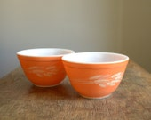 Vintage Pyrex Mixing Bowls .. Set of 2 .. Autumn Harvest