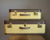 Vintage 1940s Two-Tone Yellow and Brown Arflite Suitcase Set