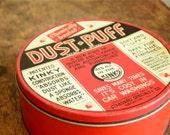Vintage 1940s Dust Puff Tin .. Vintage Advertising