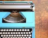 Vintage 1970s Electric Blue Manual Typewriter