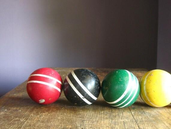 Vintage Croquet Balls .. Set of 4