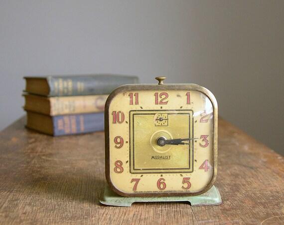Vintage Mint Green Medalist Alarm Clock .. Lux Waterbury Clock Co.