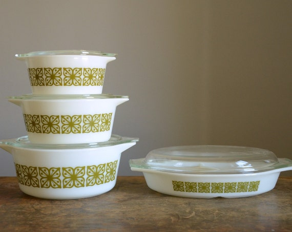 Vintage Pyrex Square Flowers 8 Pc Set .. Cinderella Round Casseroles and Cinderella Oval Divided Serving Dish