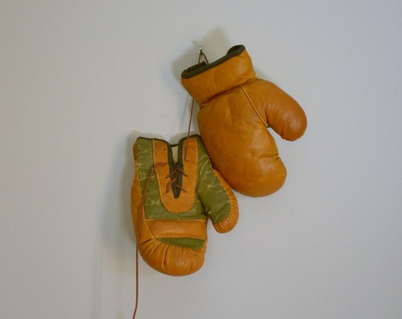 RESERVED .. Antique Vintage Child's Leather Boxing Gloves