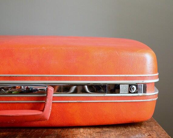 Vintage Samsonite Silhouette Suitcase .. Red Snakeskin