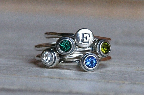 Sterling Silver Stacked Birthstone Ring